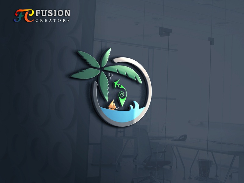 Meet The paradise vector fusioncreator icon logo logo presentation branding illustration design logo design