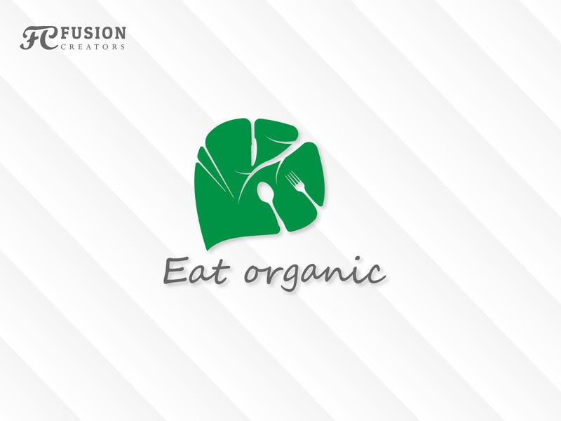 Eat Organic illustration icon art work vector fusioncreator logo presentation logo branding design logo design