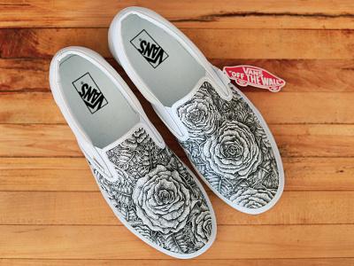 Rose Vans design blackandwhite flowers pattern pointalism stipple pen and ink canvas shoe design rose ink vans shoe
