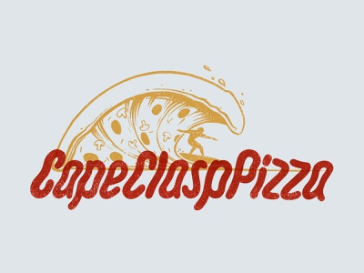 Cape Clasp Pizza 01 cape clasp illustration pizza logo design typography slice logo icon texture lettering hand lettering type water ocean surf wave pizza