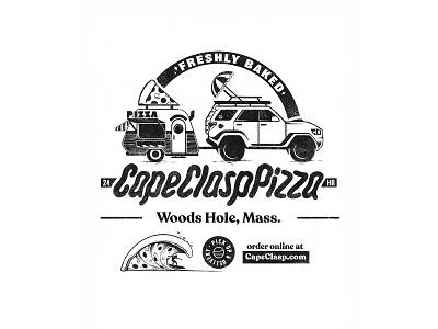 'Za Back Graphic logo branding type ocean design cape clasp illustration shirt design cape cod packaging shirt box pizza