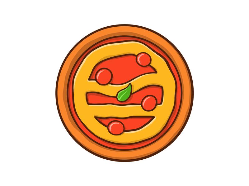 Logo Pizza Pin cape clasp design illustration stickermule pin crust logo pizza