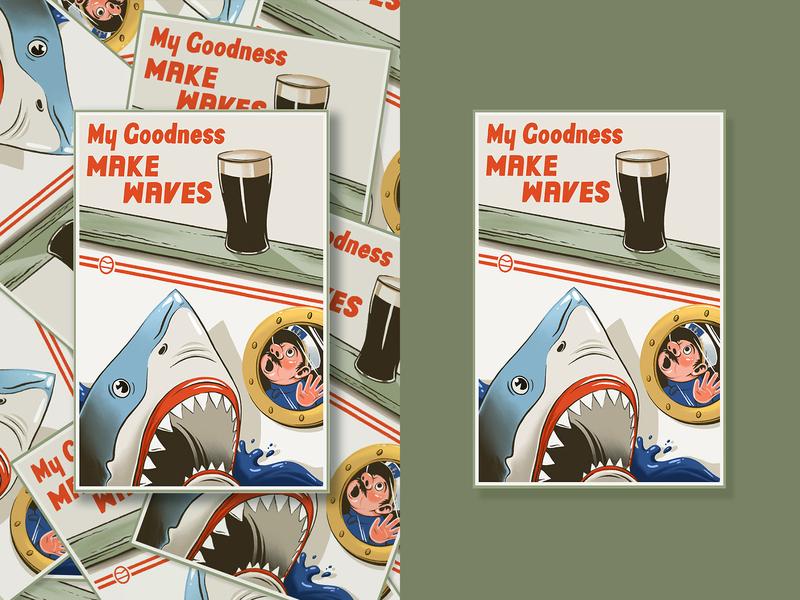 My Goodness guinness beer art vintage my goodness boat shark poster ad ireland st patricks day st patrick sticker beer cape cod ocean cape clasp design illustration