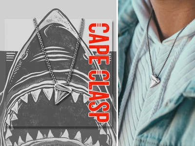 Shark Tooth silver marine cape clasp model packaging design jewelry necklace ocean tooth shark