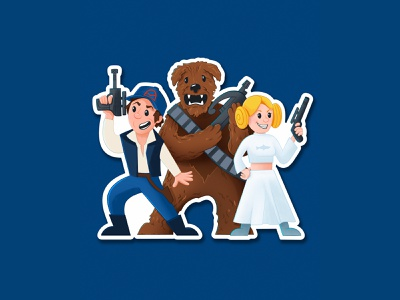 May The 4th from CC sticker princess leia han solo starwars star wars day chewbacca star wars cape clasp design illustration