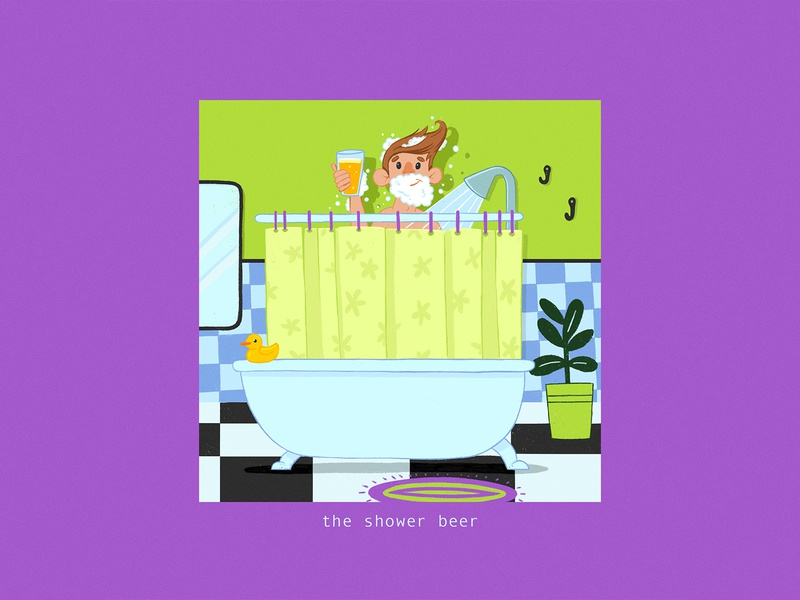 Thats A Good Beer #1 green plant bath character illustration shower shower beer beer