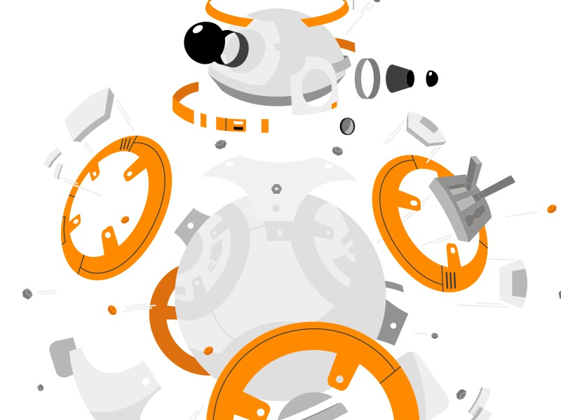 Deconstructed BB8 merchandising the last jedi lucasfilm deconstructed sw vector droid illustration licensing star wars bb-8 bb8