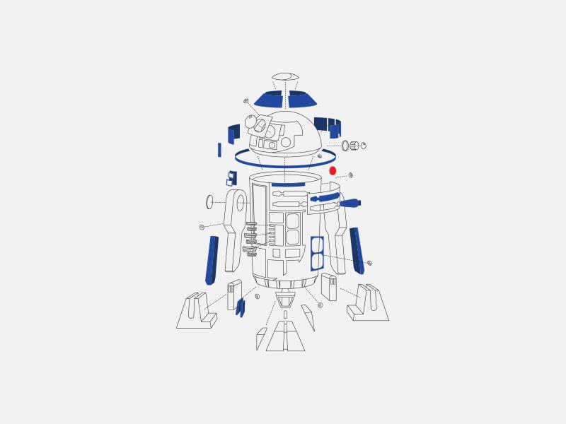Deconstructed R2D2 the last jedi illustration style guide licensing disney lucasfilm r2-d2 r2d2 star wars
