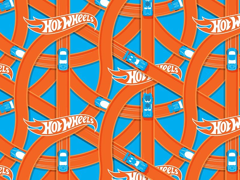 The Hotter The Wheels illustration licensing pattern cars games toys hot wheels