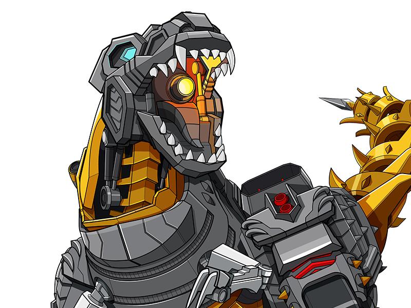 Grimlock 001 game toy licensing flat color illustrator linework vector dinosaur grimlock transformers