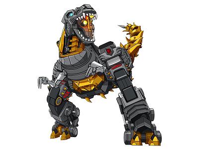 Grimlock 002 game toy licensing flat color illustrator linework vector dinosaur grimlock transformers