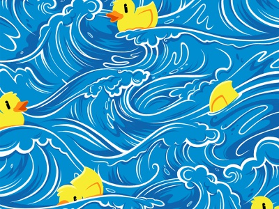 Duck Duck Goose illustration ipad pro rubber ducky repeat water waves pattern duck
