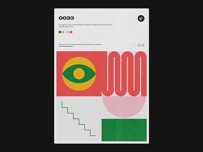 0033 concept abstract artwork vector eye geometric postmodern poster poster art print design shape form illustration modern art modernism weird color minimal