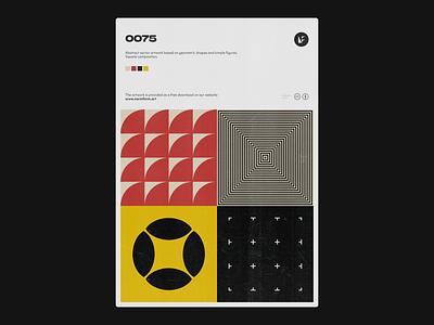 0075 vintage design square poster art print modernism shape geometry modern color daily poster design illustration art freebie pattern artwork geometric vector abstract
