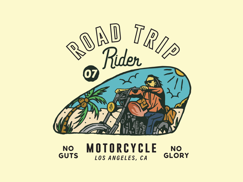Road Trip vintage apparel branding vector art typography motorsport vintagestyle chopper motorcycle illustration design