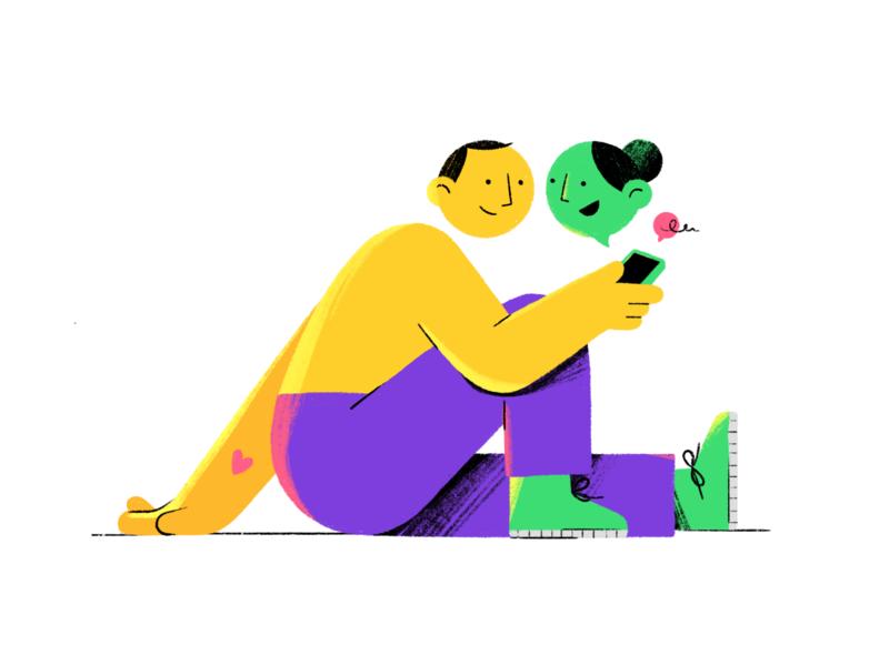 Digital Love digital love woman man procreate phone design 2d character illustration