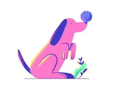 Dog pink ball plants leafs digital illustration dog illustration dog 2d illustration