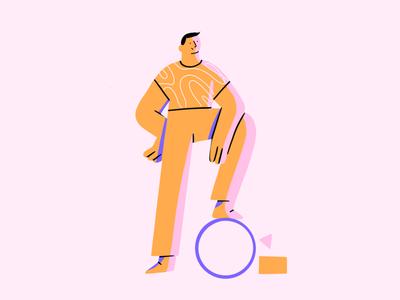 Be Confident digital pink orange circle shapes man applepencil procreate art digitalillustration characterdesign procreate character design 2d illustration
