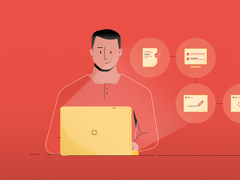The Process icons light laptop guide process character illustration