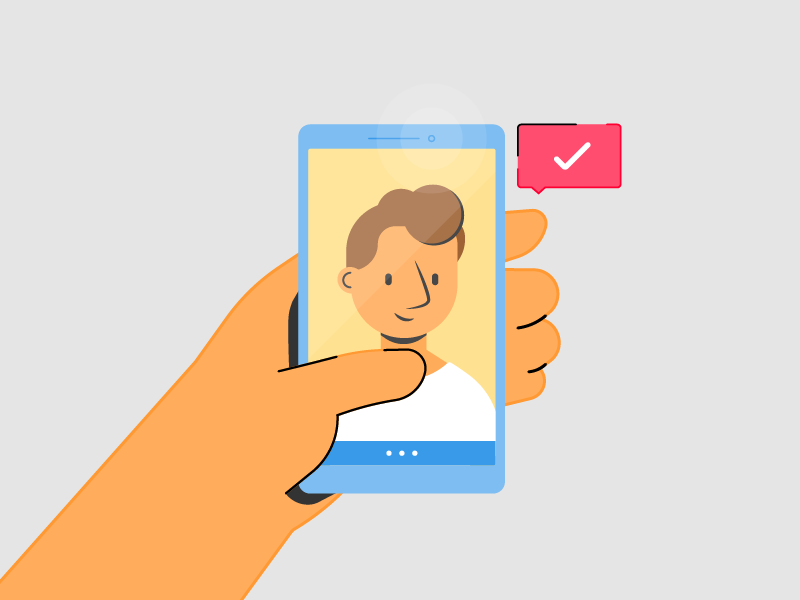 Face Recognition recognition face tech smartphone phone hand illustration