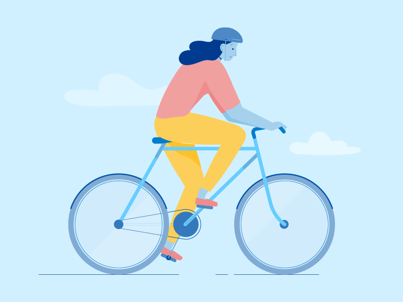 Cycling animation woman wheels bicycle character illustration