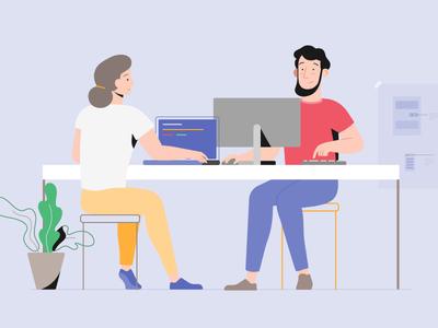 Working design 2d vector adobe illustrator office work character plants laptop computer technology illustration