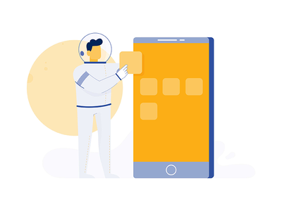 Astronaut online apps onboarding phone touch moon space astronaut adobe illustrator mobile character illustration illustator 2d