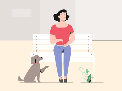 Outside vector happy street tablet play city phone technology bench mobile app plants dog woman outside illustrator design character illustration 2d
