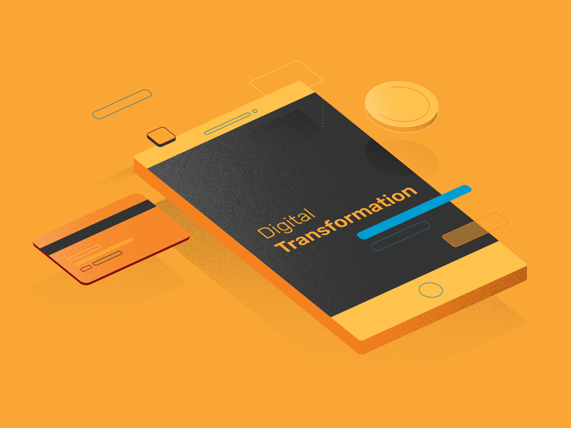 Mobile Banking online tech design technology coin yellow digital app phone card texture 2d vector banking device mobile illustrator illustration