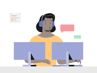 Call Center work help desk call center chat talk monitors screen computer tech technology woman 2d design character adobe illustrator illustrator illustration