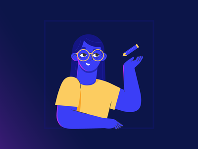 Time to Draw window design light blue yellow glasses woman pencil vector adobe illustrator 2d character illustrator illustration