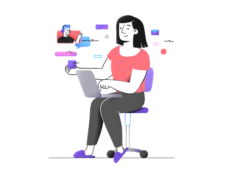 Working Remotely brushes 2d illustration 2d chair shapes headphones man woman workspace video call call working laptop line character design character textures photoshop illustration