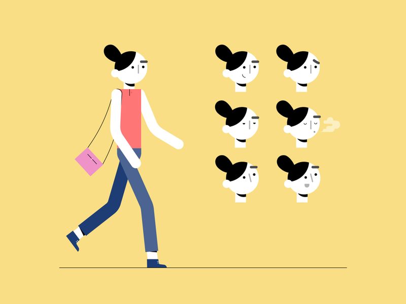 Character Testing flat geometrical line moodboard look and feel animation process frown smile walking face expression illustration for animation character design vector illustrator woman design 2d character illustration