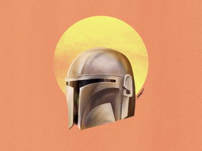 The Mandalorian digital painting character 2d procreate illustration