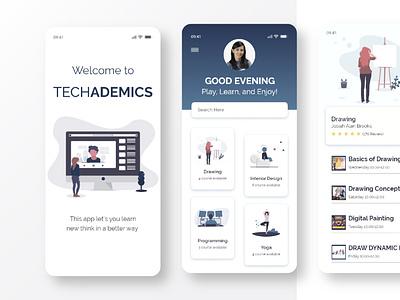 TechAdemics Online learning App UI DESIGN 01 distance learning online education online learning minimal app ui design app design app ux ui design
