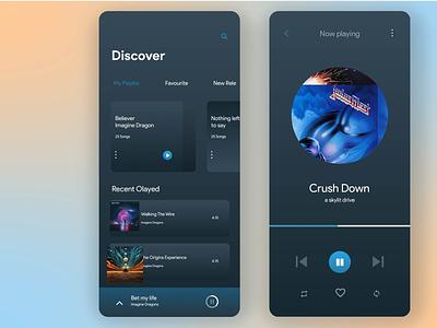 Music App Dark UI Design dark neumorphism music app music uidesign app ui design app design ux ui design