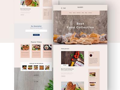 Sloopy food blogging website ui design landing page design web ui website design website web design app ui ui