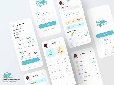 MCI Hamrah E Man App Redesign - Multi screens Light ux app ui  ux uxui minimal design uxdesign webdesign ui design ui