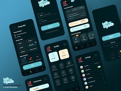 MCI Hamrah E Man App Redesign - Multi Screens Dark Mode minimal ux app ui  ux design daily ui dailyui ui design uidesign ui  ux uiux ui dark mode dark ui dark