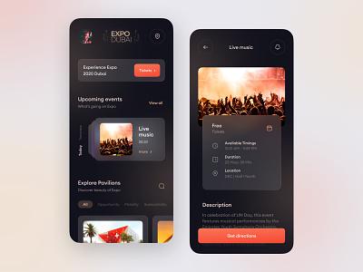 Expo 2020 Dubai app redesign component slider appdesign app design ui  ux uiux uidesign uae visual ux dark ui design ui glassmorphic dubai expodubai expo2020 expo