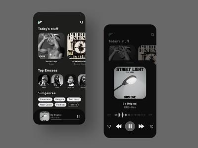 Dark Music Player Concept music player music app music app uiux ux  ui uxdesign uxui ux design hip hop ui design uidesign ui minimal