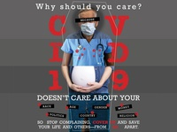 COVID-19 Doesn't Care About Who You Are covid-19 pandemic virus first responder face mask facemask postmodernism postmodern poster design poster art photography poster coronavirus covid19 typography graphic design