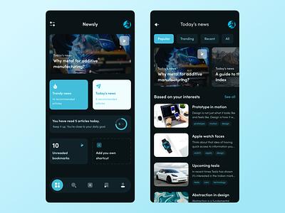 Newsly – Mobile App dark theme blue newsfeed news mobile minimal design app ui