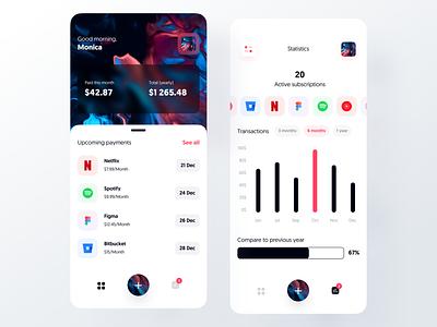Subscription Manager – Mobile App design app manager subscription futuristic minimal mobile ui