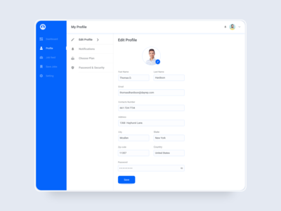 Edit Profile analytics dashboard design web ux ui design profile page forms edit profile account settings