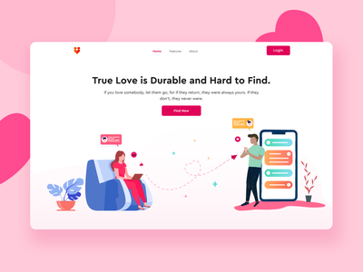 Dating Header Exploration app design ux app landing template clean love dating app romantic coloful ui design landing page design interface minimal design 2020 trend design