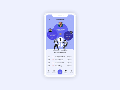 Leaderboard illustration minimal daily uiux ui interaction leaderboard mobile dailyui19 dailyui019 flat dailyui uidesign