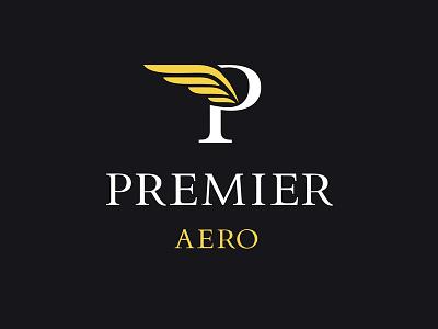Premier Aero logo premier vip aero plane aeroflot aviation logotype premium luxury prestige yellow
