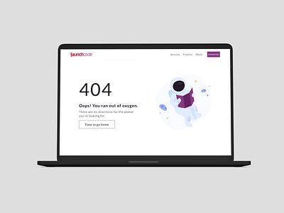 Launchcode 404 Page 404 error404 error illustration uxdesign uidesign typography software minimal design