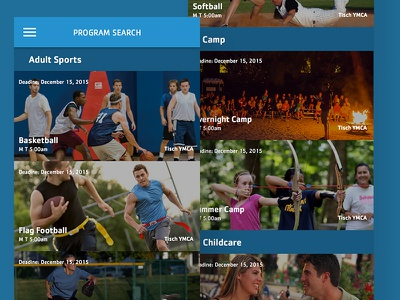 Sociy App Programs camp sports deadline activities events search ymca class